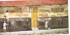 Roman shop: Facade of the House of Trebius Valens from The Gardens of Pompeii by Wilhemina F. Jeshemski.