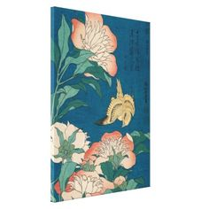 Hokusai Peonies and Canary Vintage Art GalleryHD Canvas Print - flowers floral flower design unique style