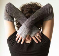 "women's fingerless gloves - extra long grey gray ombre -  ""winter sky"" arm warmers handmade by lolide. $78.00, via Etsy."