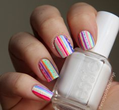 the nail polish challenge: Neon Tribal Print Inspired by a Phone Case