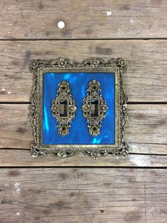 Br Light Switch Cover Double Switchplates Scrolled Ornate Blue And Gold