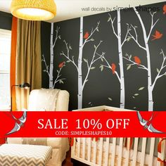 Customized birch tree decals for your living room, bedroom, or baby nursery! The birds and leaves can go anywhere on the tree. Arrange them any way you like. This set includes six birch tree wall decals and six birds. ** The tree decal is made to be trimmed on either the top or bottom to fit your wall perfectly. [Size] 96 (243 cm) Tree Size (approx): (Total width will vary based on how you choose to place the trees.)  Tree Size (approx): (starting left) Tree 1: 26w x 96h (66 cm x 243 cm)…