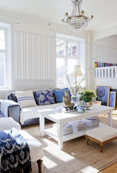 White and Blue in a Scandinavian House   79 Ideas