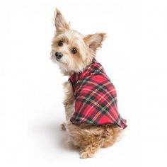Fleece Stretch Dog Coat Red Tartan – Bark Label