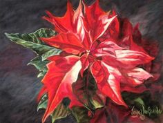 "Daily Paintworks - ""Poinsettia by Joye DeGoede"" - Original Fine Art for Sale - © Joye DeGoede"