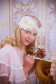 Ivory Lace Vintage Headband lace Birdcage Veiling, Russian Veiling, Couture, newborn girl infant toddler, baby, French netting, bow net