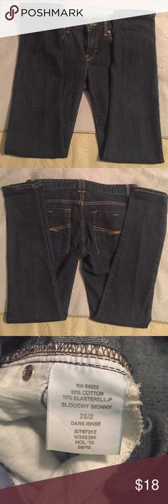 GAP Slouchy Skinny Jeans GAP Slouchy Skinny Jeans. Size 26 (size 2). EXCELLENT used condition. No distressing. Dark blue. Worn only a few times. Smoke-free home. Jeans Skinny