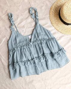 Mar 2020 - Frill of Life Flowy Frill Tank Top - More Colors – shophea. - Mar 2020 – Frill of Life Flowy Frill Tank Top – More Colors – shophearts Das schönst - Cute Summer Outfits, Cute Casual Outfits, Spring Outfits, Cute Summer Clothes, Biker Look, Cute Tops, Cute Summer Tops, Summer Tank Tops, Trendy Tops