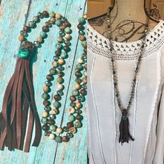 Knotted Jasper and Turquoise Gemstone Tassel Necklace Leather