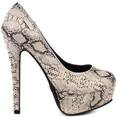 Get catwalk chic in these inspirational pumps from Dereon.  Sasho brings you a cream and black snake print upper, textured to the touch.  A 1 inch platform and 5 inch heel will finish this look and make it an unforgettable choice for your next occasion.
