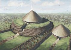 A conjectural reconstruction of Rathcroghan Mound, by J.G. O'Donoghue (Archaeological Illustrator) in collaboration with Joe Fenwick (Archaeological Field Officer, NUI Galway), as it might have looked during the Later Iron Age, some 2000 years ago.