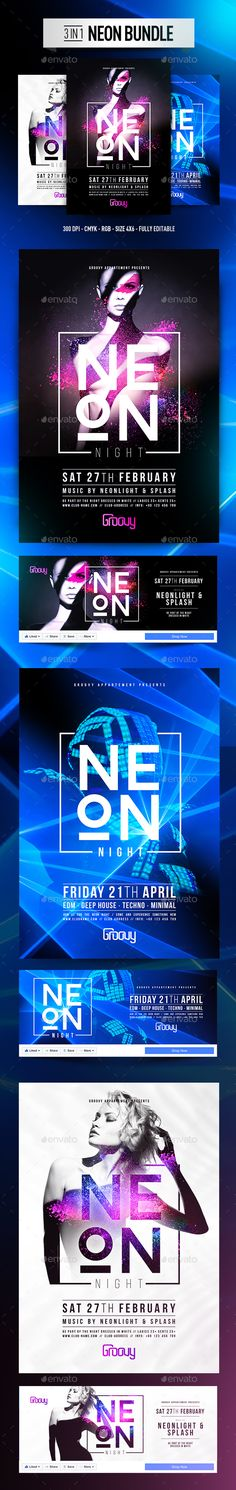 3in1 NEON Bundle — Photoshop PSD #bright #club • Available here → https://graphicriver.net/item/3in1-neon-bundle/19203015?ref=pxcr