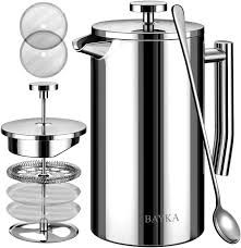 BAYKA French Press Coffee Maker, Stainless Steel Double-Wall Metal Insulated Coffee Tea Makers with 4 Level Filtration System, Rust-Free, Dishwasher Safe coffee maker maker Stainless Steel French Press, Stainless Steel Screen, Best French Press Coffee, Best Coffee Maker, Coffee Uses, Dishwasher, Kitchen Dining, Wall, Filters