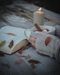 A candle, a book, some autumn lives and hot cocoa ... what else