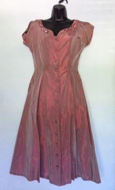 Pink sharkskin 1950's dress with sequins