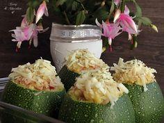 Calabacines luna rellenos de jamón cocido – Ham stuffed globe courgettes