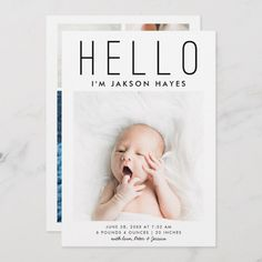 Shop HELLO Simple Modern Baby Photo Birth Announcement Postcard created by NamiBear. Personalize it with photos & text or purchase as is! Birth Announcement Template, Birth Announcement Photos, Birth Announcements, Newborn Baby Photos, Baby Boy Newborn, Newborn Pictures, Baby Baby, Birth Records, Foto Baby