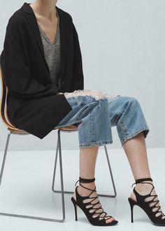 Sandales lacées ouvertes à l'arrière - Chaussures pour Femme | MANGO France
