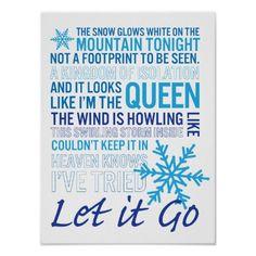 Poster typography design with lyrics from Disney's movie 'Frozen'! Let it Go