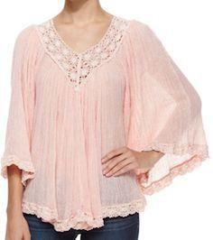 Boho chic blush pink top