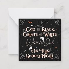 Shop Watch Out On This Spooky Night Stationery Card created by Lettermuse_Co. Scary Ghost Stories, Halloween Traditions, Sparkling Stars, Custom Cards, Note Cards, Happy Halloween, Birthday Gifts, Birthdays, Stationery