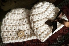 Newborn Baby Twin Crochet Hats Boy and Girl Cream by ZMBoutique, $39.99