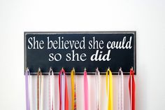 Running Medal Holder for Girl - She Believed She Could So She Did - Runners - Medal Display - Medal Hanger - Running Medal Holder - Athletic by UntamedBranches on Etsy