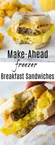 Make-Ahead Breakfast Sandwiches. English muffins topped with eggs, bacon and/or sausage, and cheese. Make ahead, freeze, and re-heat in just 3 minutes in the microwave!!