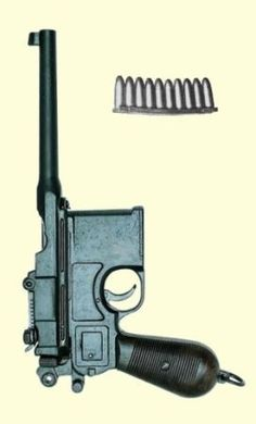 The C96 Mauser Pistol, known as the 'Broomhandle', seems strangely out of place in a section about 'Guns of the Old West', but it does make an appearance as a curiosity in several spaghetti westerns. Although more readily associated with WWI, the Mauser C96 was patented in 1895, with full-scale production starting in 1897. The C96 had a 10-round magazine that was loaded with stripper clips, and was the first pistol to feature a reliable autoloading mechanism.