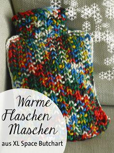 Wärmflasche | warm und wollig . Umstricken, warm und wollig, fröhlich und bunt aus dicker Wolle, XL Space Butchart Garden