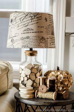 Vintage Deko, Nachttischlampe, Spulen, Retro Ideen fürs Wohnzimmer, einrichten und dekorieren