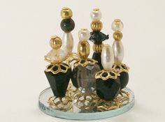 Miniature Perfume Bottle Collection Dark Nights Black Charcoal Smoky Onyx One Inch Scale
