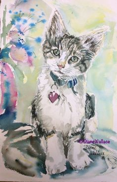 What Did You Say? #watercolor #kitten, private collection #cat