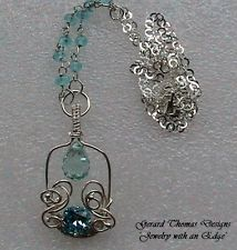 Artisan Handmade Blue Quartz, Silver Wire Wrapped Pendant Necklace by GTD