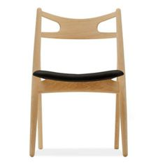 For Sale on - The Sawbuck chair, designed by Hans J. Wegner, has clean, simple lines and a unique construction. The seat is significantly wider at the front, and Modern Classic, Mid-century Modern, Mid Century Modern Furniture, Simple Lines, Dining Room Chairs, Types Of Wood, Chair Design, Interior, Sitting Positions
