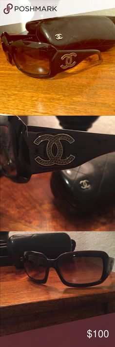 Chanel sunglasses Authentic Chanel sunglasses in perfect condition. The frames are dark brown/black. The CC logo on both sides is a gold/bronze color. CHANEL Accessories Sunglasses