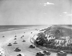 Stock car racing on the beach - Daytona Beach, Florida 1952