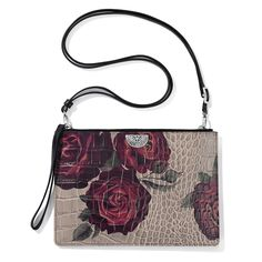 Victorian Rose Convertible Pouch by Brighton. Purses And Handbags, Leather Handbags, Coin Purses, Italian Handbags, Brighton Handbags, Rose, Calf Leather, Fashion Brand, Bag Accessories