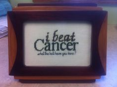 Another version of the pattern at http://www.dosmallthingswithlove.com/2014/08/cancer-survivors-gift-card-brother.html - I've started outlining 'i beat' in gold and 'cancer' in the corresponding ribbon colour.
