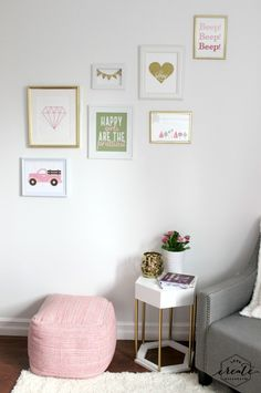 Beautiful slanted gallery wall in a big girl bedroom. Love the tutorials for these individual art pieces!