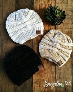 Metallic Knit C.C. Beanies