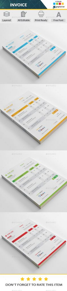 Features of Invoice Template Color Versions A4 \ US Letter Size - design your own invoice