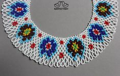 Ukrainian traditional necklace White Beaded necklace Collar | Etsy Seed Bead Necklace, Boho Necklace, Collar Necklace, Fashion Necklace, Crochet Necklace, Monet Earrings, Blue Earrings, Beaded Earrings, Coral Turquoise