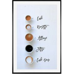 Pottery Barn 5 Ways To Order Coffee In Paris Framed Print by Rebecca... ($159) ❤ liked on Polyvore featuring home, home decor, wall art, photo wall art, cafe wall art, white figurines, pottery barn and image poster
