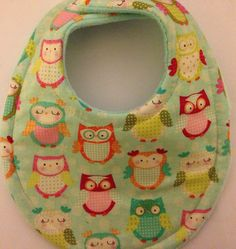 MOm Approved Thickest most absorbent bibs! Baby Bib Happy Owls Super Absorbent Triple by BananasBoutique, $7.99