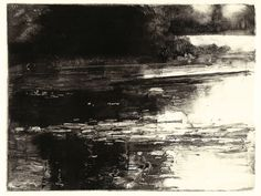 """Steve Magsig - Belle Isle Reflection II -   Original Monotype print on Rives heavyweight Paper  2012, image is 4.5x6""""   Edition of 1/1"""