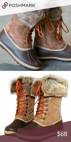 "Snow fur duck boots Comfortable Fur Inside Lace Up with side Zipper Closure easy on and off Waterproof Rubber sole Shaft measures approximately 4.5 from arch Platform measures approximately 0.5""  Available in sizes: 6-11 including 1/2 sizes  Retails for $120 Shoes Winter & Rain Boots"