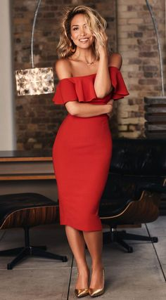 Herve Leger Red Strapless Bardot Ruffle Dress