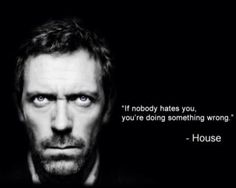 If nobody hates you, you're doing something wrong! -House