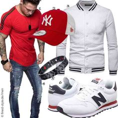 Sport Outfit, Neue Outfits, Outfit Trends, Business Outfit, Mens Fashion, Fashion Outfits, New York Yankees, Neue Trends, Motorcycle Jacket